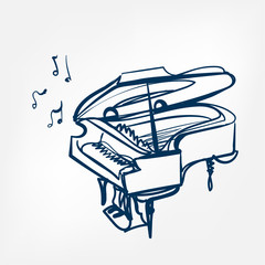 piano sketch vector illustration isolated design element
