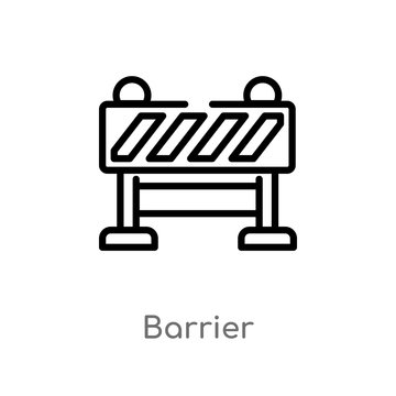 outline barrier vector icon. isolated black simple line element illustration from industry concept. editable vector stroke barrier icon on white background