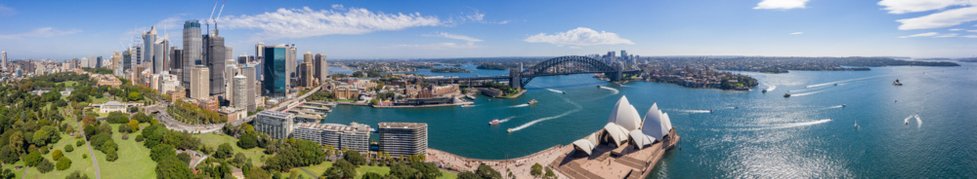Aerial view from the Parade Ground gardens looking towards the CBD and the beautiful harbour in Sydney, Australia