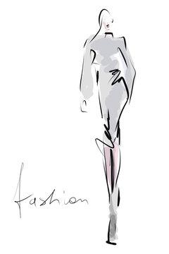 Hand-drawn fashion illustration. Young beautiful woman, girl, model. Sketch, vector