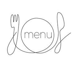 Restaurant menu continuous thin line illustration