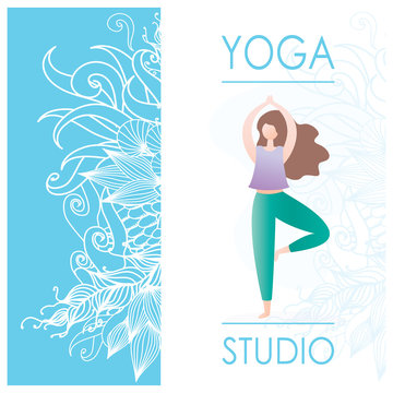 Card for Woman yoga studio with floral ornament and girl doing yoga pose