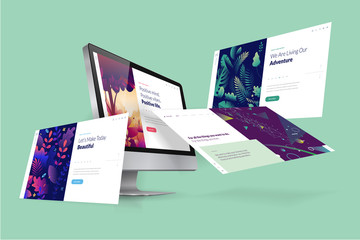 Web design template. Vector illustration concept of website design and development, app development, seo, business presentation, marketing. Wall mural