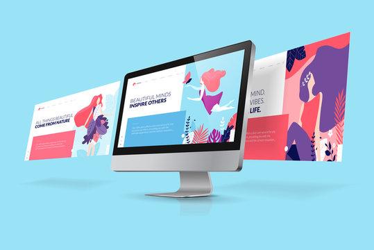 Web design template. Vector illustration concept of website design and development, app development, seo, business presentation, marketing.