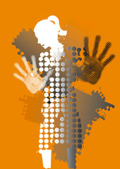 Young woman, fear of violence.  Grunge stylized woman silhuette with arms in defensive position.Illustration on orange background. Vector available.