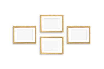 Golden frames collage, four realistic  frameworks isolated on white background, 3D illustration