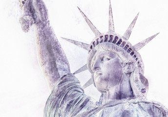 Watercolor picture of Statue of Liberty