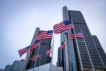 The Renaissance Center (RenCen) skyscrapers surrounded by American Flags in Downtown Detroit, Michigan, USA Wall mural