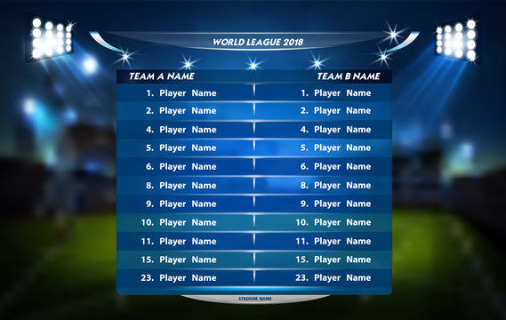 Football or soccer playing field with set of infographic elements. Sport Game. Sport Cup.