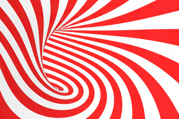 Swirl optical 3D illusion raster illustration. Contrast red and white spiral stripes. Geometric torus image with lines, loops. Wall mural