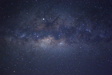 Clearly milky way galaxy during summer, background of beautiful milky way. Long exposure photograph with grain. Image contain certain grain or noise and soft focus.