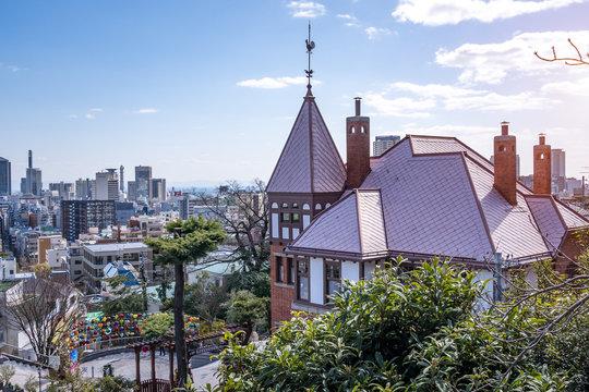 Historic Kitano District houses and downtown at Kobe, Japan