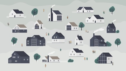 Fototapete - Banner with different houses in Scandic style or cottages of modern Scandinavian architecture and town dwellers. Background with village, suburb or neighborhood. Flat cartoon vector illustration.