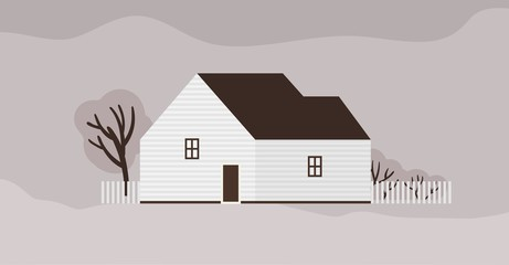 Fototapete - Living house or cottage of Scandinavian architecture. Suburban residential building with fence. Modern town residence or dwelling, real estate. Monochrome vector illustration in flat cartoon style.