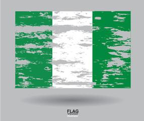 Flag of Nigeria ,vintage textured background. Vector