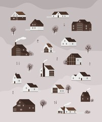 Wall Mural - Vertical monochrome banner with living houses or cottages of modern Scandinavian architecture and walking people. Background with suburban residential buildings. Flat cartoon vector illustration.
