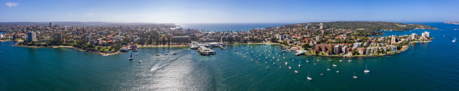 Aerial panoramic view of the Manly Wharf and harbour in Sydney, Australia