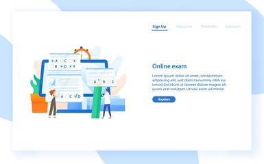 Web banner template with giant computer and tiny students passing internet test. Online exam, distant learning or education. Modern flat vector illustration for educational service promotion.