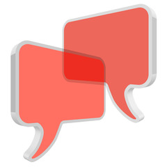 Chat speech bubbles in perspective vector Coral color transparent on a white background