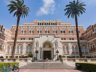 Exterior view of Doheny Memorial Library of USC