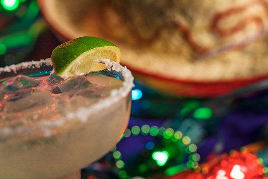 Fiesta: Focus On Salt And Lime On Cold Margarita