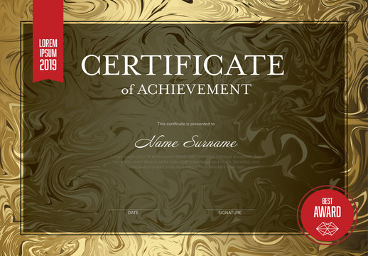 Certificate of Achievement with Golden Marble Background