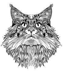The head of a cat. Fluffy kitten. Drawing manually in vintage style. Meditative coloring. Coloring for children. Arrows, points, patterns.