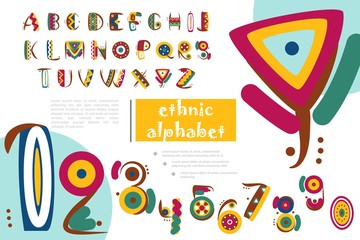 Wall Mural - African Or Indian Ethnic Alphabet Template