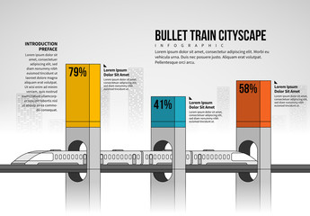 Bullet Train Cityscape Infographic