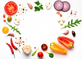 Organic fresh vegetables and spices frame on wooden white background. Copyspace, top view.  Papier Peint