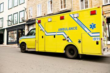 An ambulance car on the side street