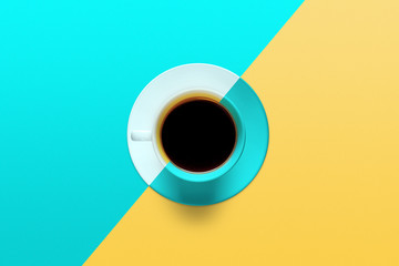 cup of coffee on a background of turquoise color Fototapete