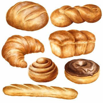 Hand drawn bakery set on watercolor paper isolated on white background. Food illustration.
