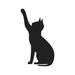 Icon playing cat. Vector silhouette illustration on white background.