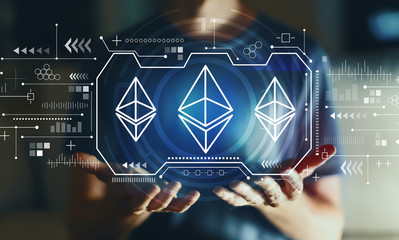 Ethereum with young man in the night