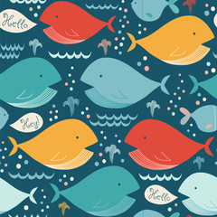 Seamless vector pattern with cute whales on a dark blue background.
