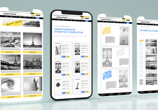 4 Web Pages on a Smartphone Mockup