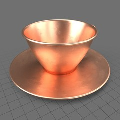 Copper tea cup with saucer