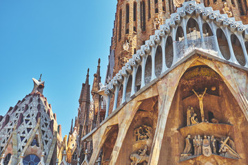 Foto auf Acrylglas Barcelona BARCELONA, SPAIN -MAY 19, 2018: The Basilica i Temple Expiatori de la Sagrada Familia in Barcelona