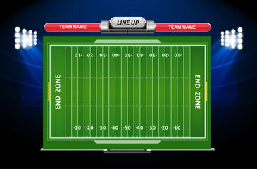 Vector of American football infographic elements on green field background.