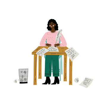 African American Female Writer or Poetess Character Sitting at Desk and Writing with Feather Pen Vector Illustration