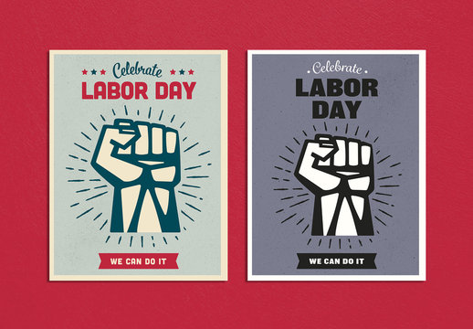 Labor Day Poster Layout with Clenched Fist Illustration