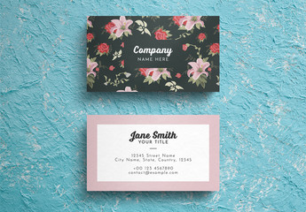 Floral Business Card Layout