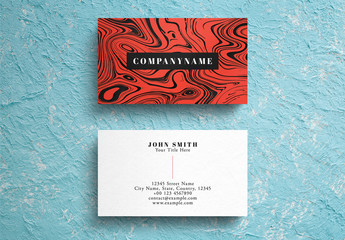 Red Marble Business Card Layout