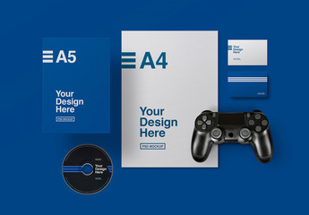 Stationery Set Mockup with CD and Game Controller