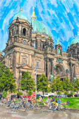 Watercolor illustration of  Berlin Cathedral. People resting at  meadow. berlin cathedral in background.