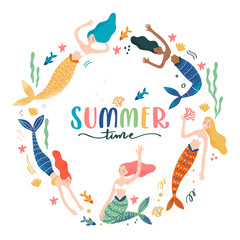 Summer colorfully cute and fun swimming mermaid on white background in a circle shape frame
