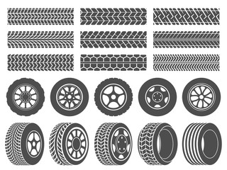 Wheel tires. Car tire tread tracks, motorcycle racing wheels icons and dirty tires track vector illustration set