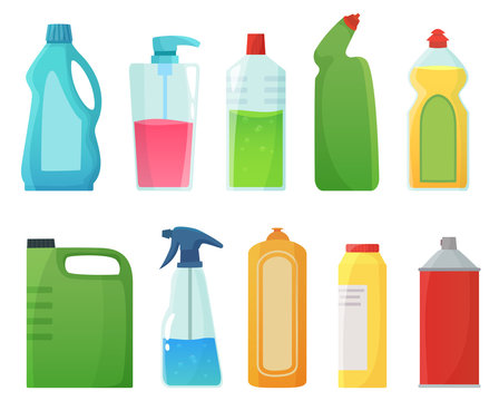 Detergent bottles. Cleaning supplies products, bleach bottle and plastic detergents containers cartoon vector illustration