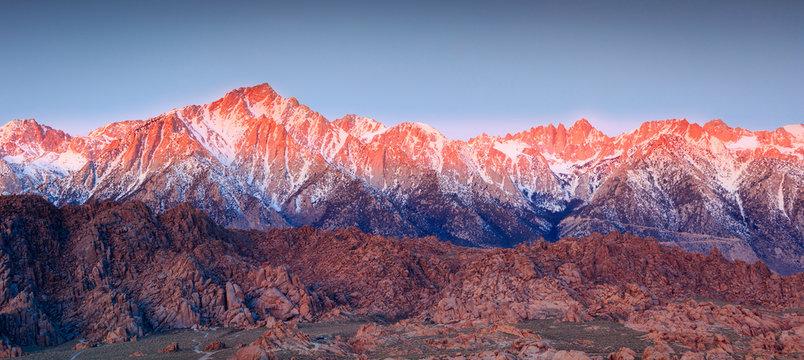 Twilight scenes along the Eastern Sierra Nevada Mountains, California, USA.